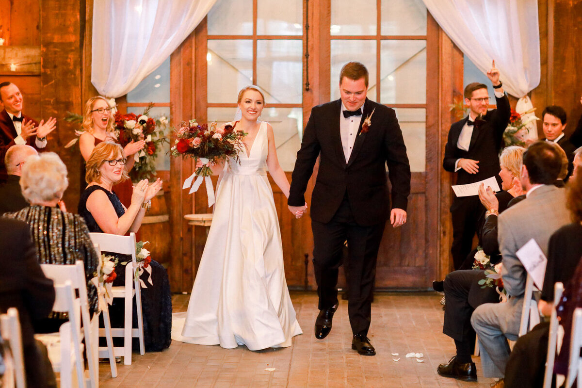 Wedding ceremony photography during a winter wedding at Summerfield Farms in North Carolina