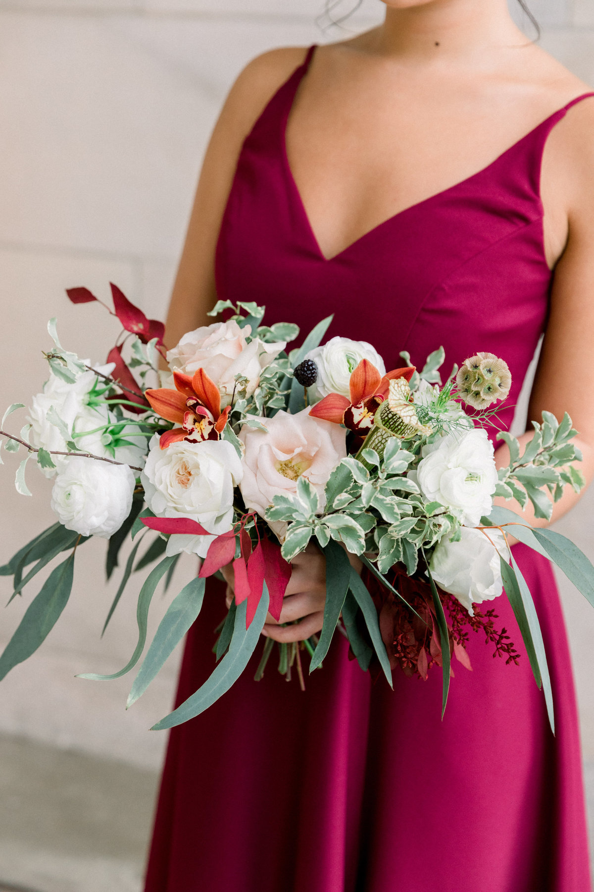 bridesmaid bouquet Winterthur Delaware burgundy