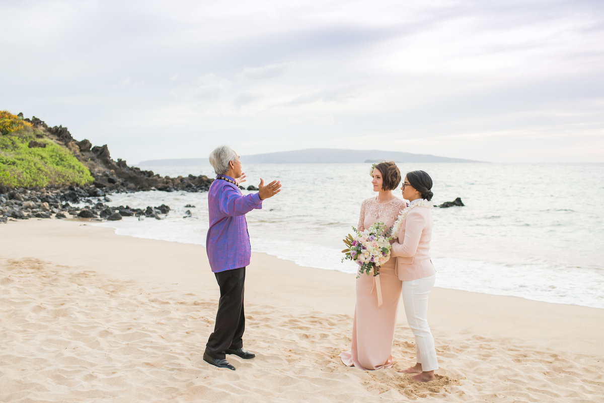 Same Sex Maui wedding photography - with minister
