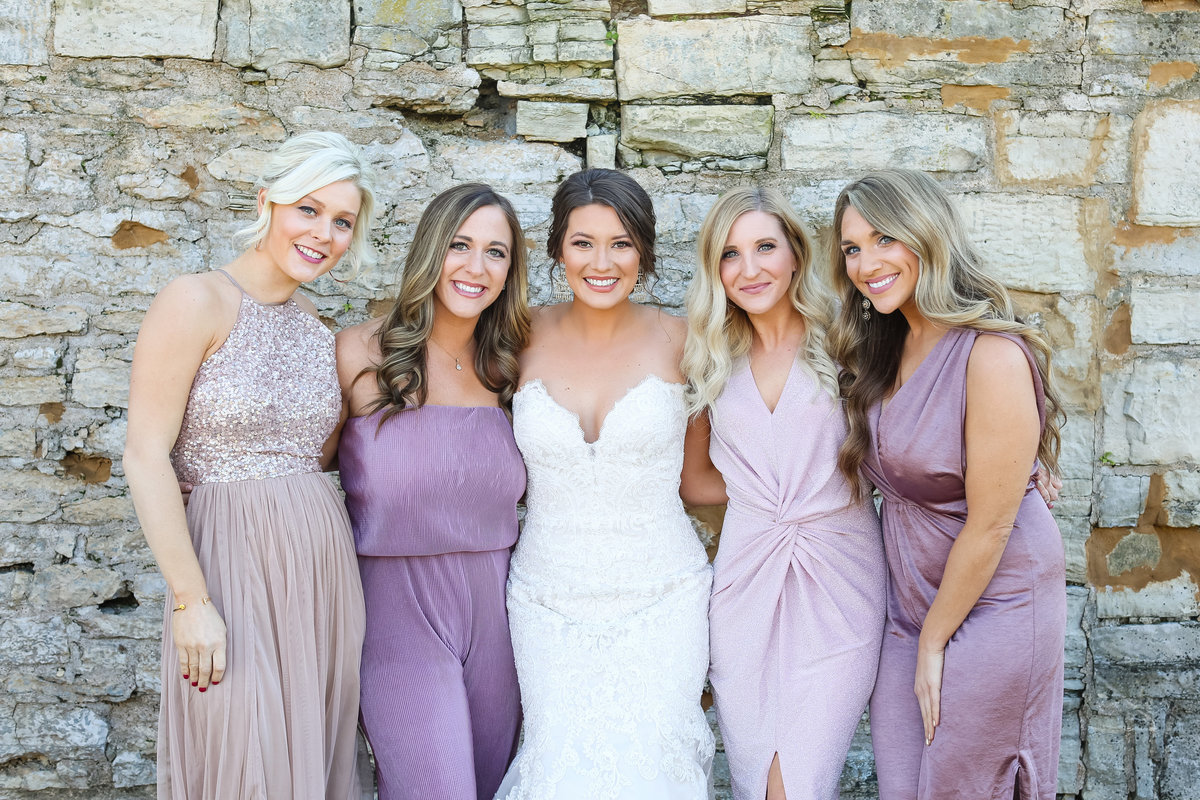 Romantic Fall Elopement lavender  bridesmaids at Greensfelder County Park  in St. Louis  by Amy Britton Photography Photographer in St. Louis
