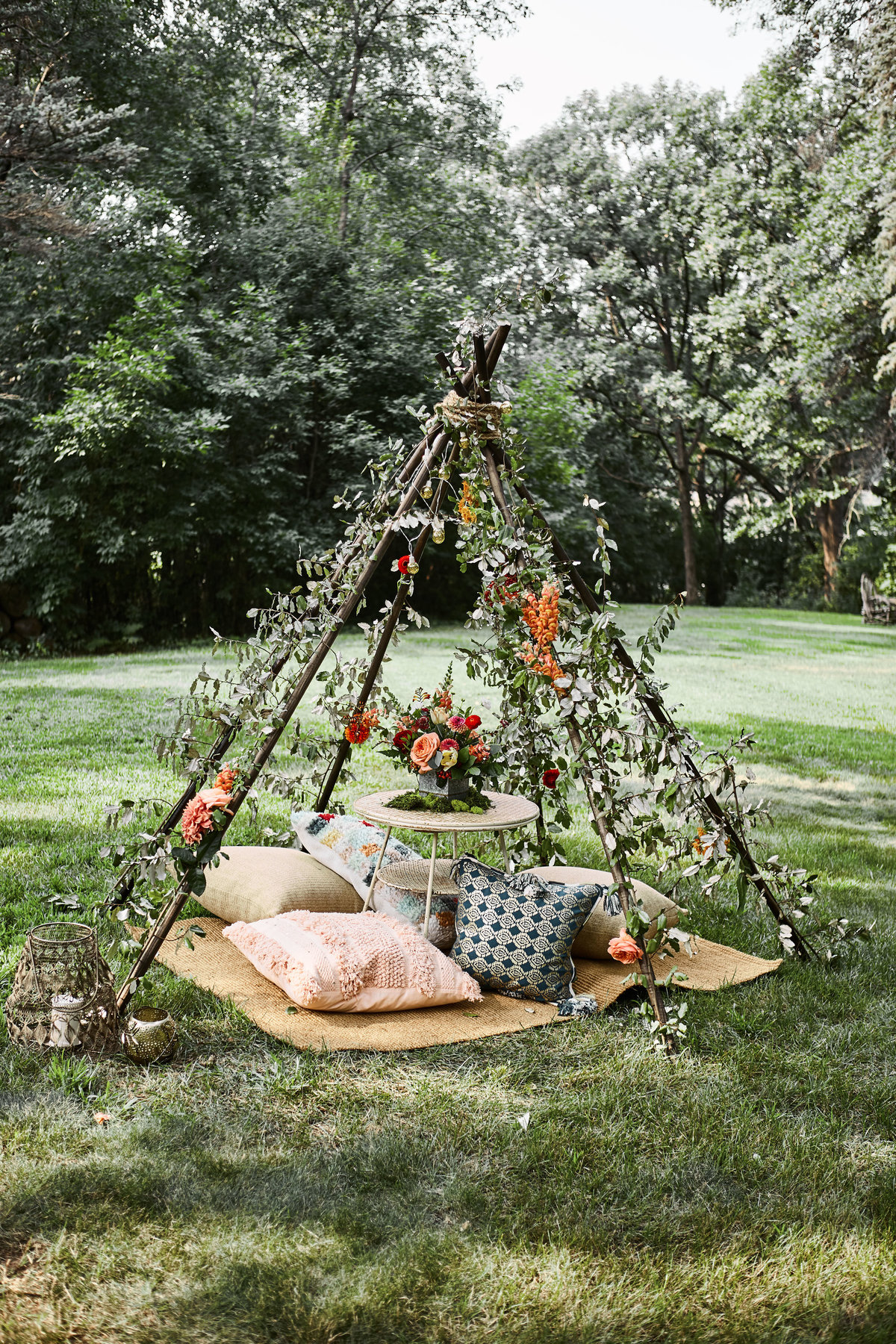 flowers on a teepee