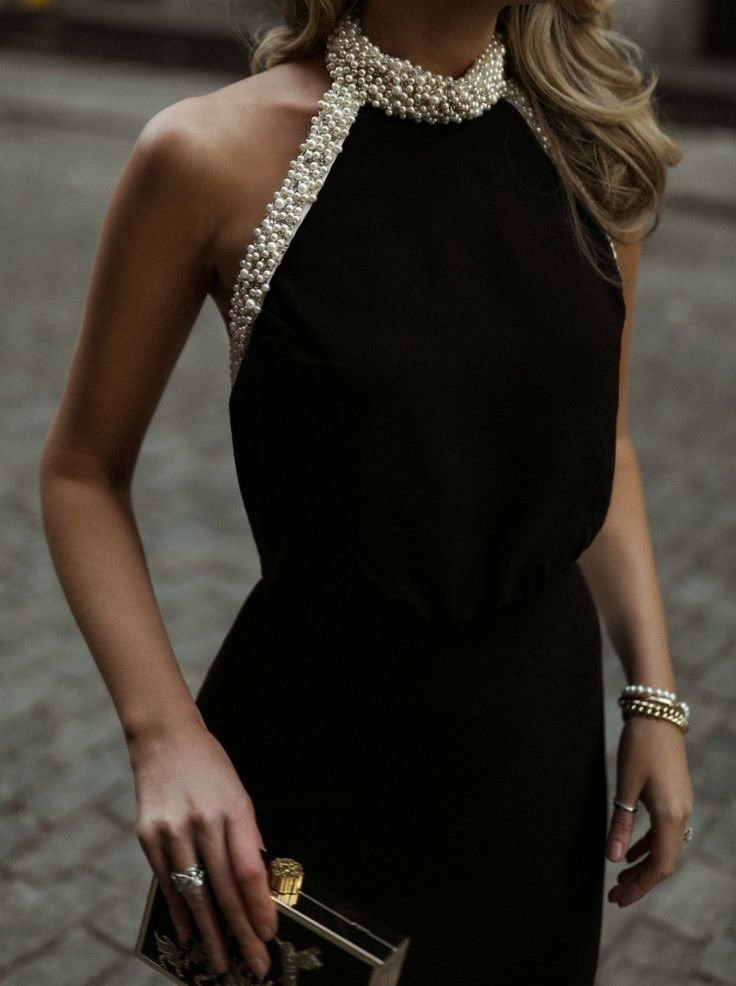 Black Halter dress with pearl edging