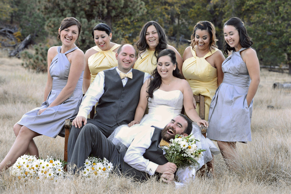 bridal party in field in Alpine