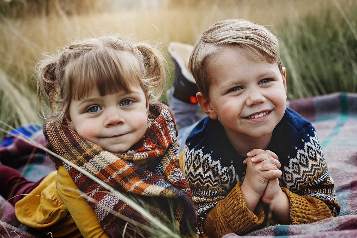 Boy and girl in family photo shoot