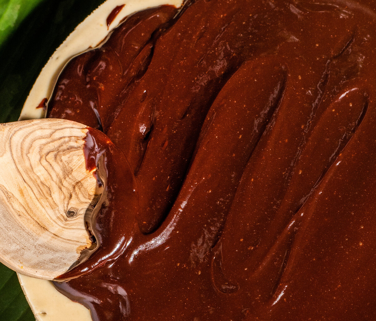 chocolate ganache cheesecake topping for todo verde plant based restaurant in los angeles