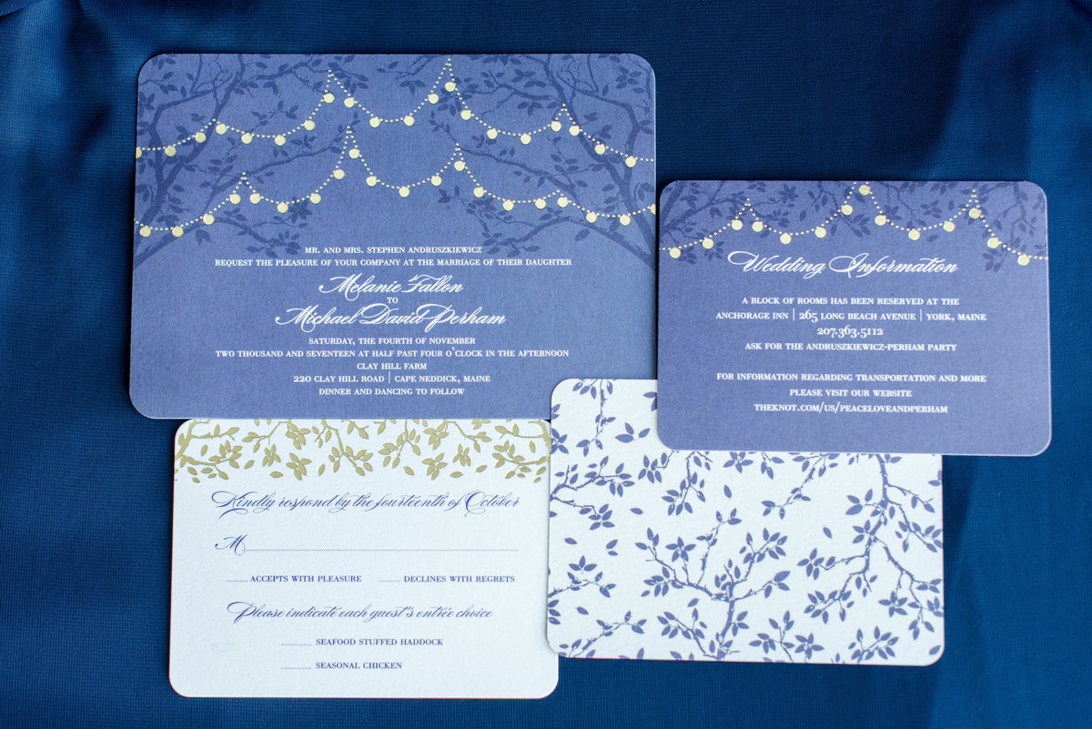 navy blue and gold wedding invitation suite