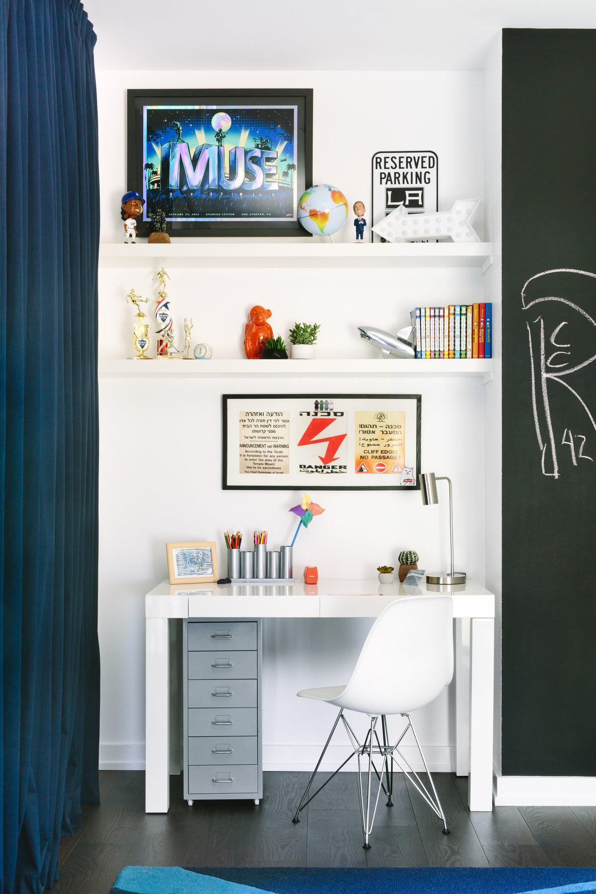 Modern teenage boys bedroom desk area