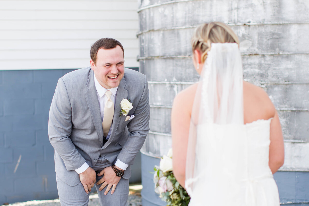 Bride and Groom foreheads touching at Garden Center in Canton Ohio
