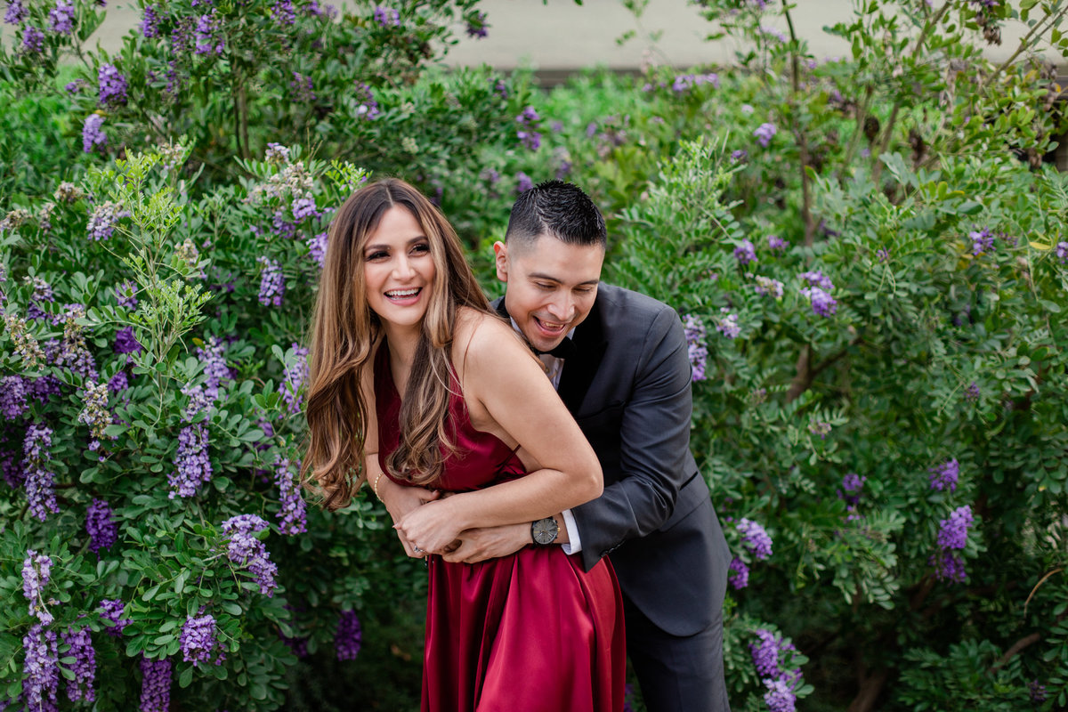 UC Riverside Botanical Gardens, Engagement Photography, Riverside Phototgrapher, Garden Engagement, Couple Photography, Red Dress-95