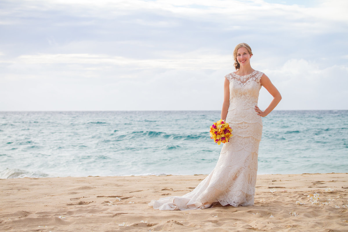 Bridal portrait during Kauai wedding on the beach