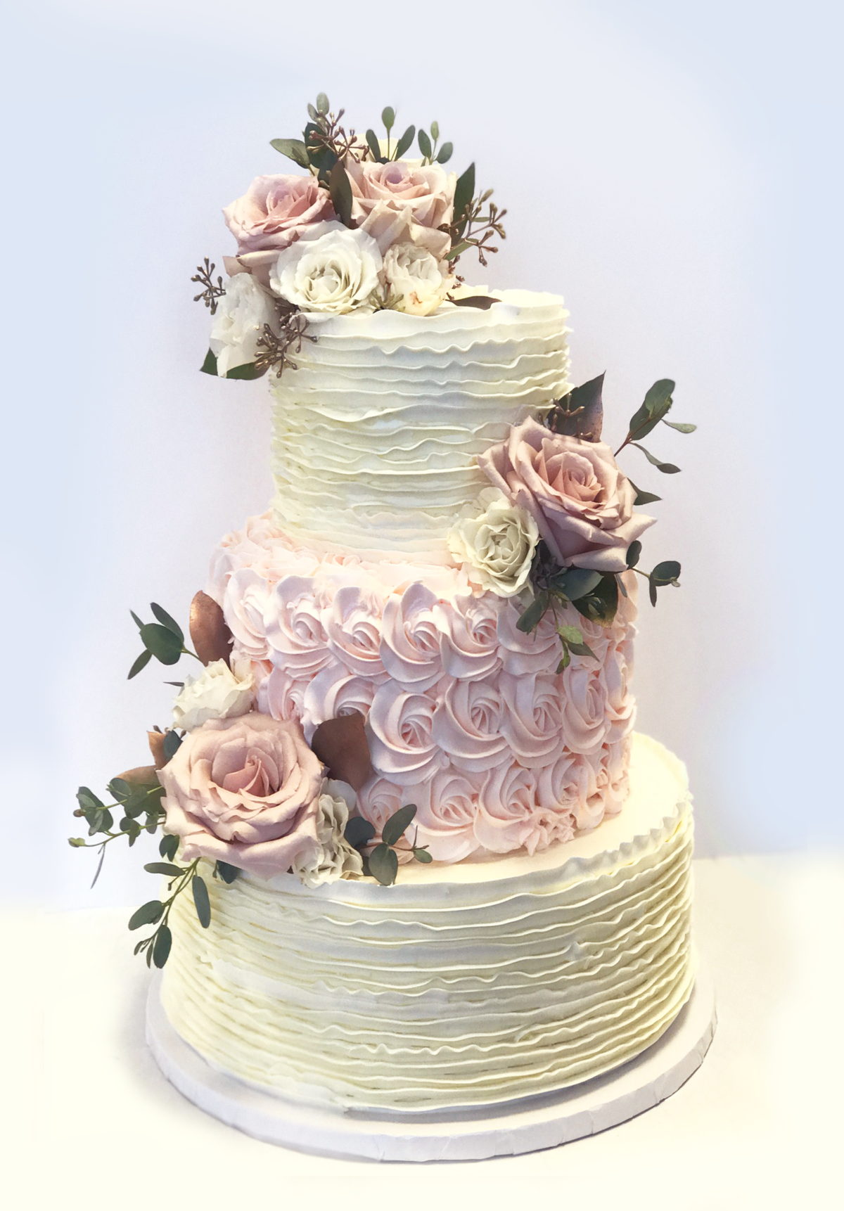Whippt Wedding Cake - buttercream ruffles and rosettes 2017