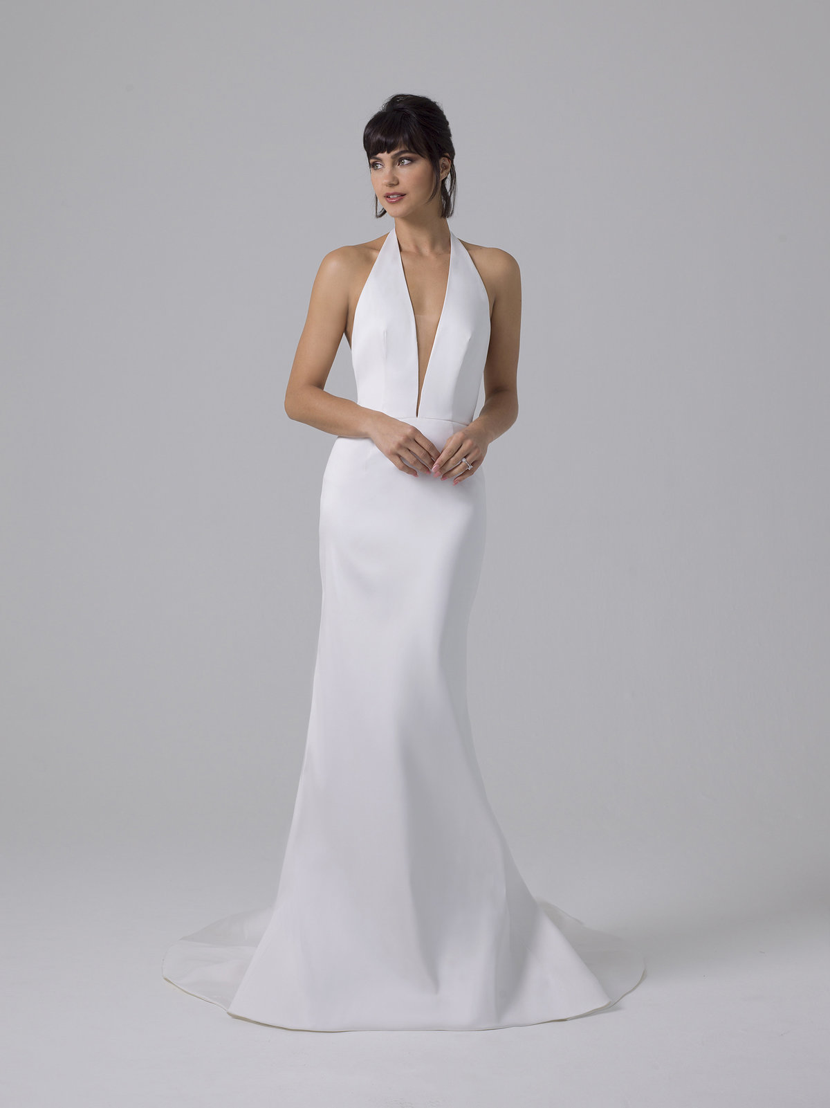 Liancarlo Low V Fitted Crepe Wedding Dress