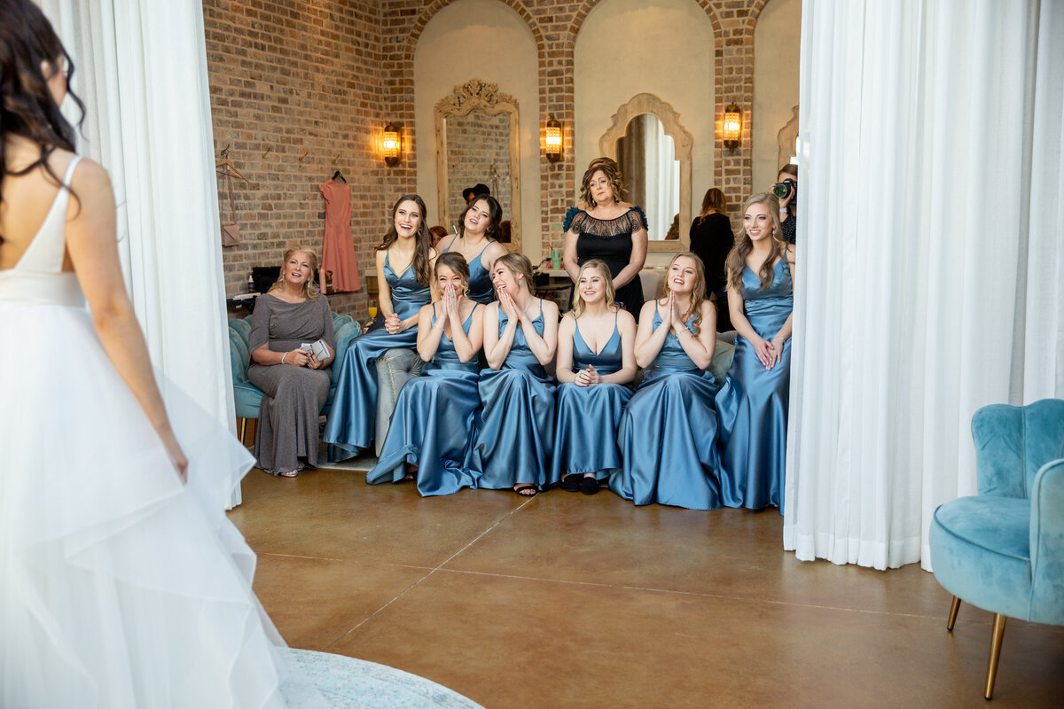 First Look With Bridesmaids at Iron Manor