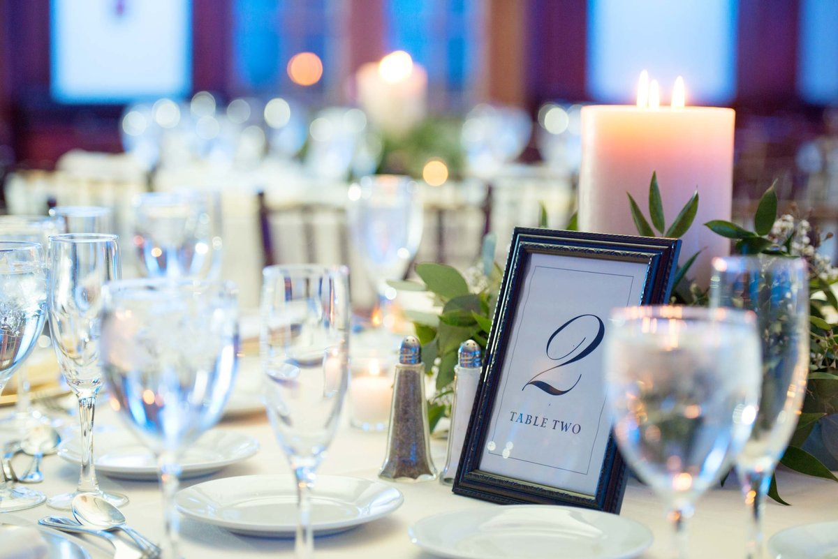 Wedding table numbers from The Mansion at Oyster Bay