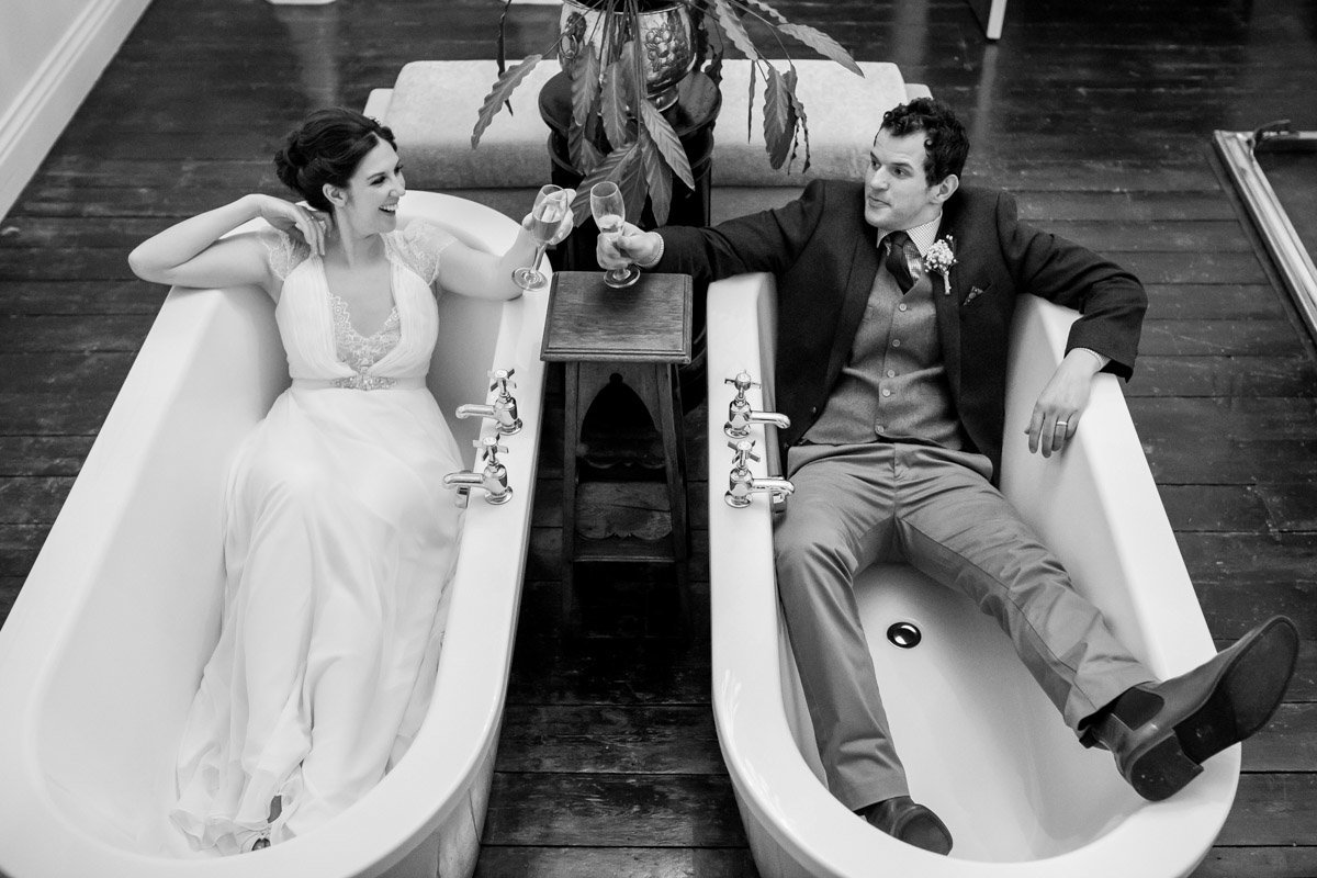 Bride and Groom in Baths at Huntsham Court Devon