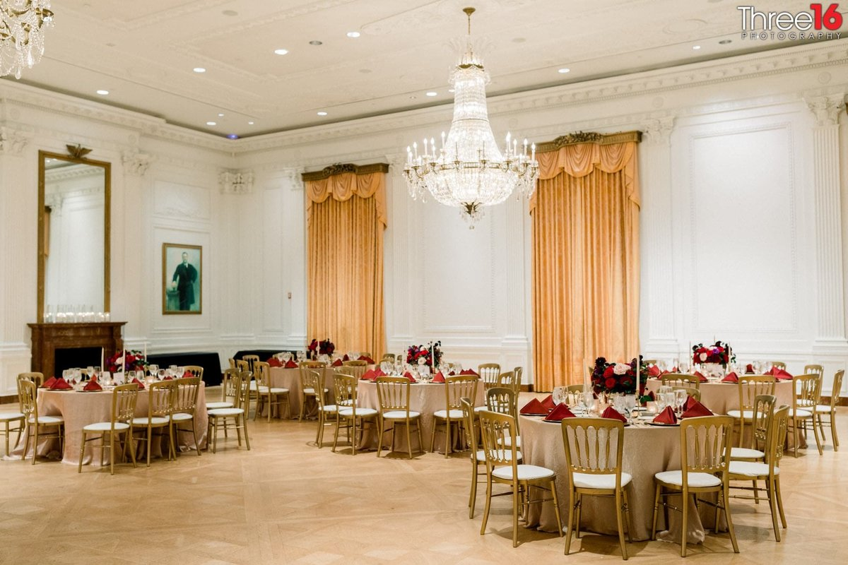 Wedding Reception setup a the Richard Nixon Library wedding venue