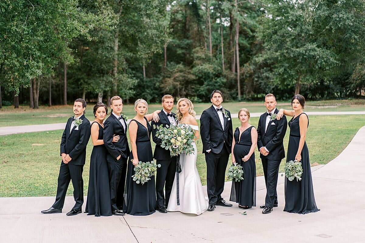 Bridal party portraits at black tie wedding at the Annex photographed by Alicia Yarrish Photography