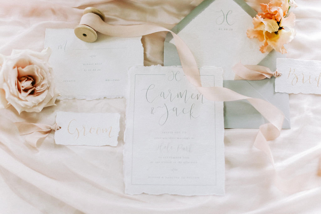 Ethereal Calligraphy Wedding Invitation Suite