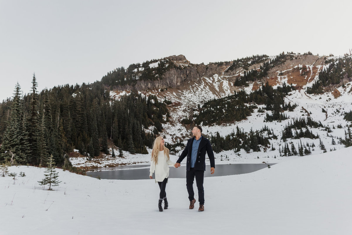 Snowy Mount Rainier Engagement Photos-34