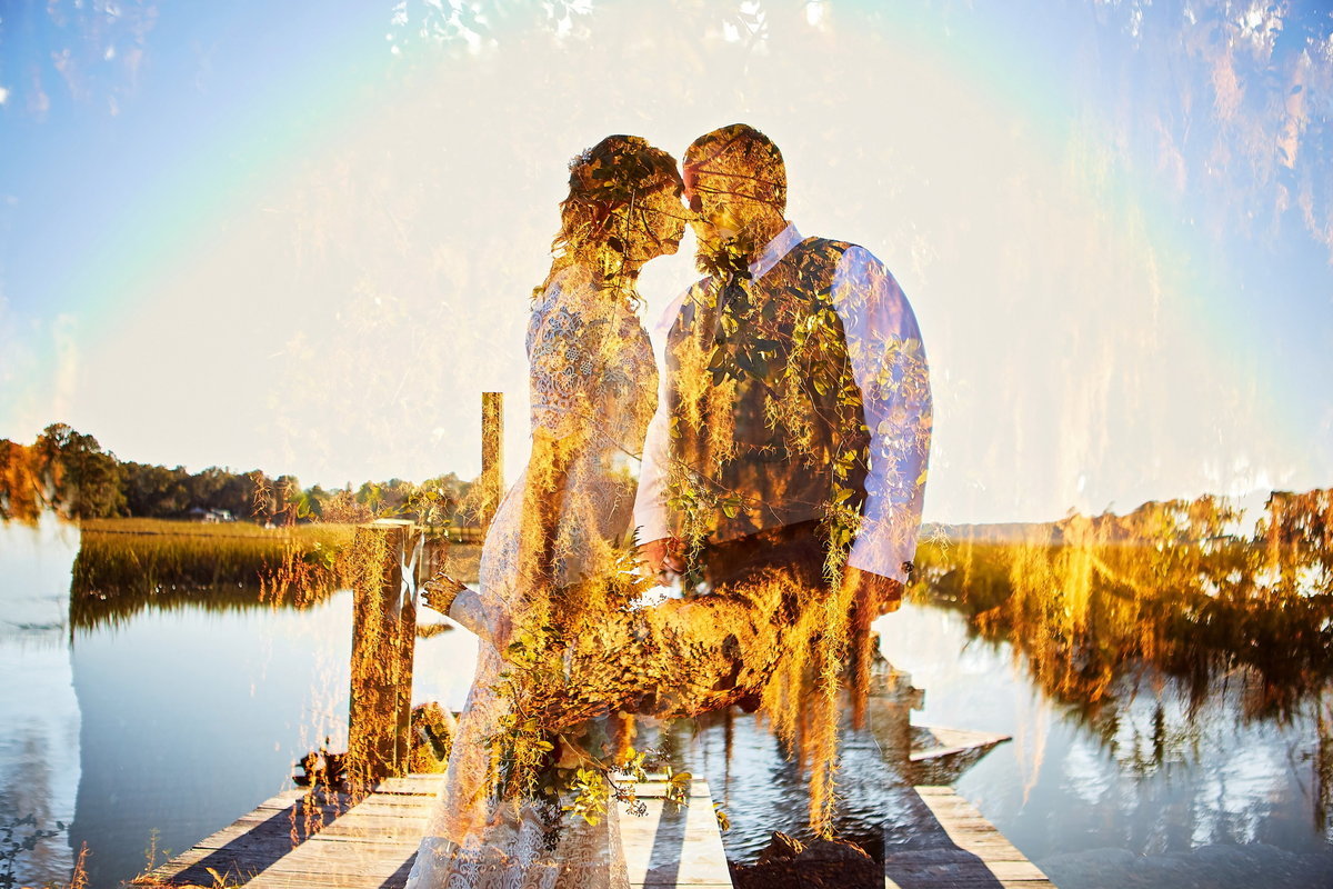 Double exposure of bride and groom on the water, with leaves and trees superimposed, at Edisto Island Wedding