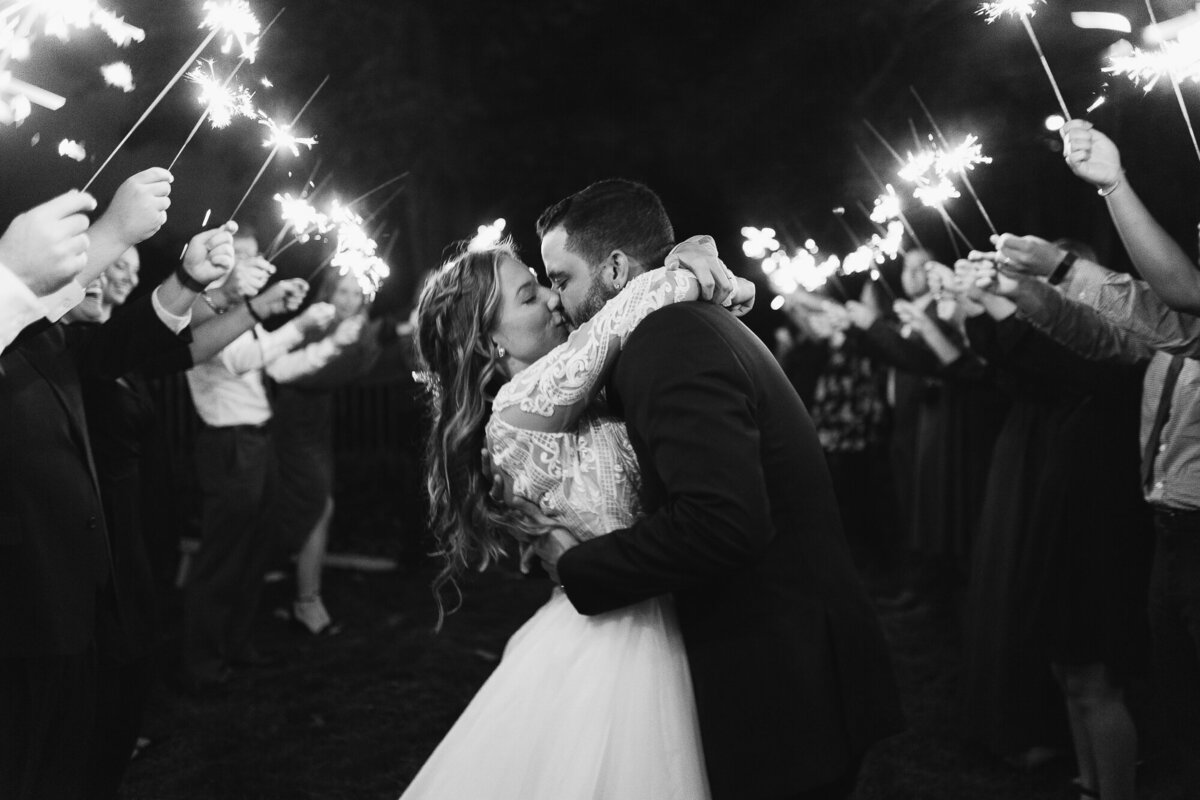Couple kissing in front of sparklers
