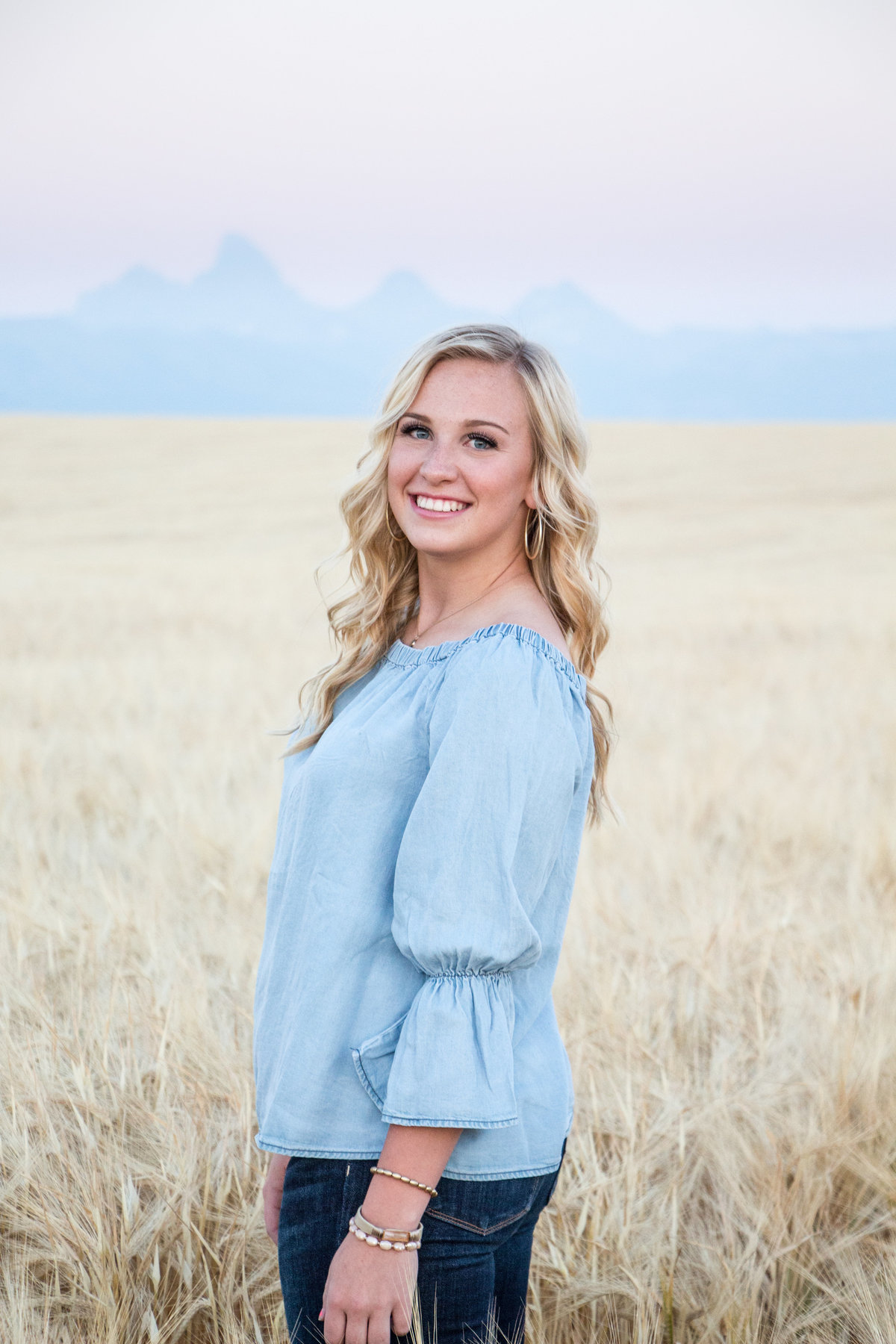 Senior Portraits, Teton Valley, Idaho, Wheat field