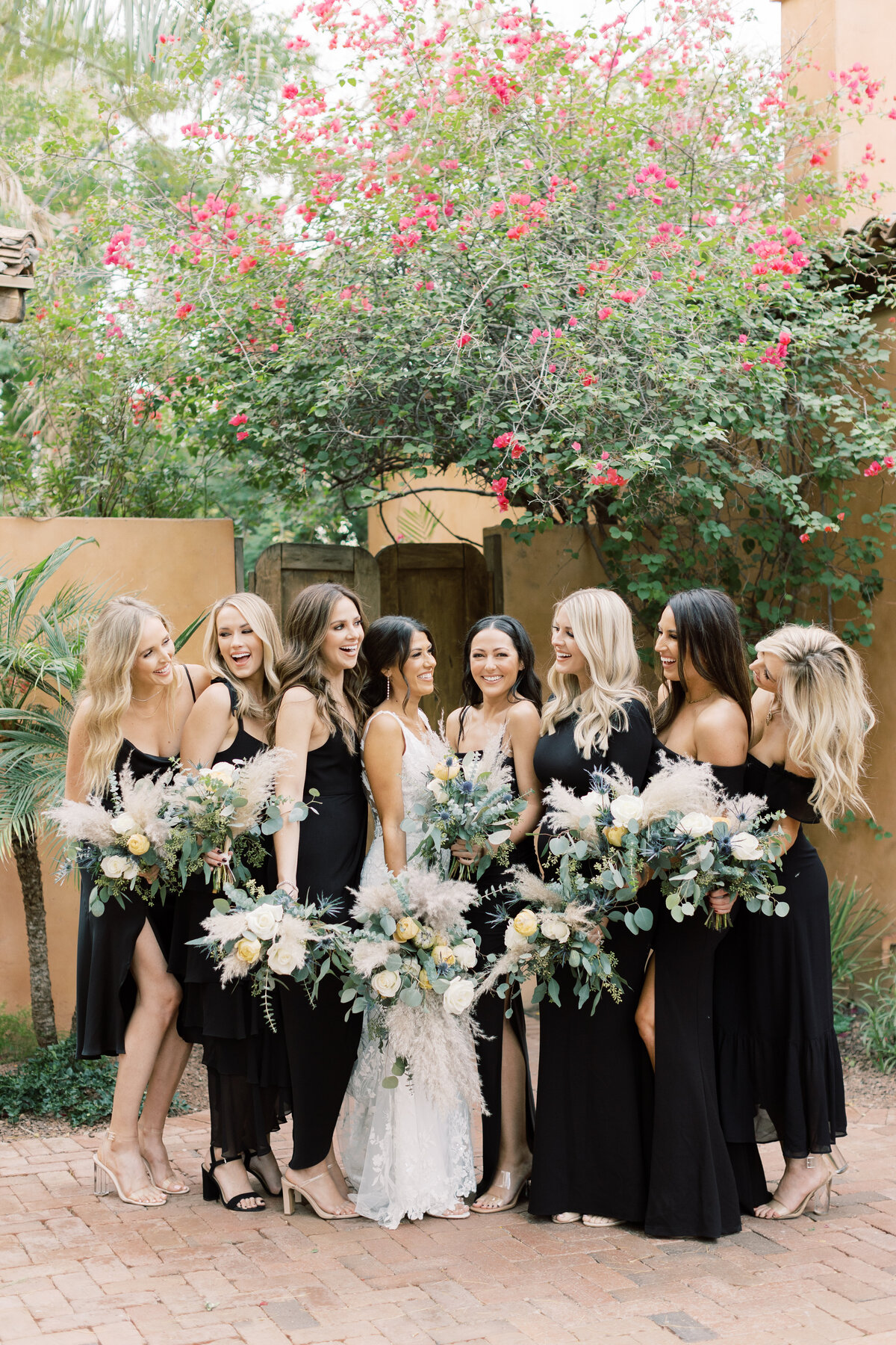 bridesmaids standing and smiling