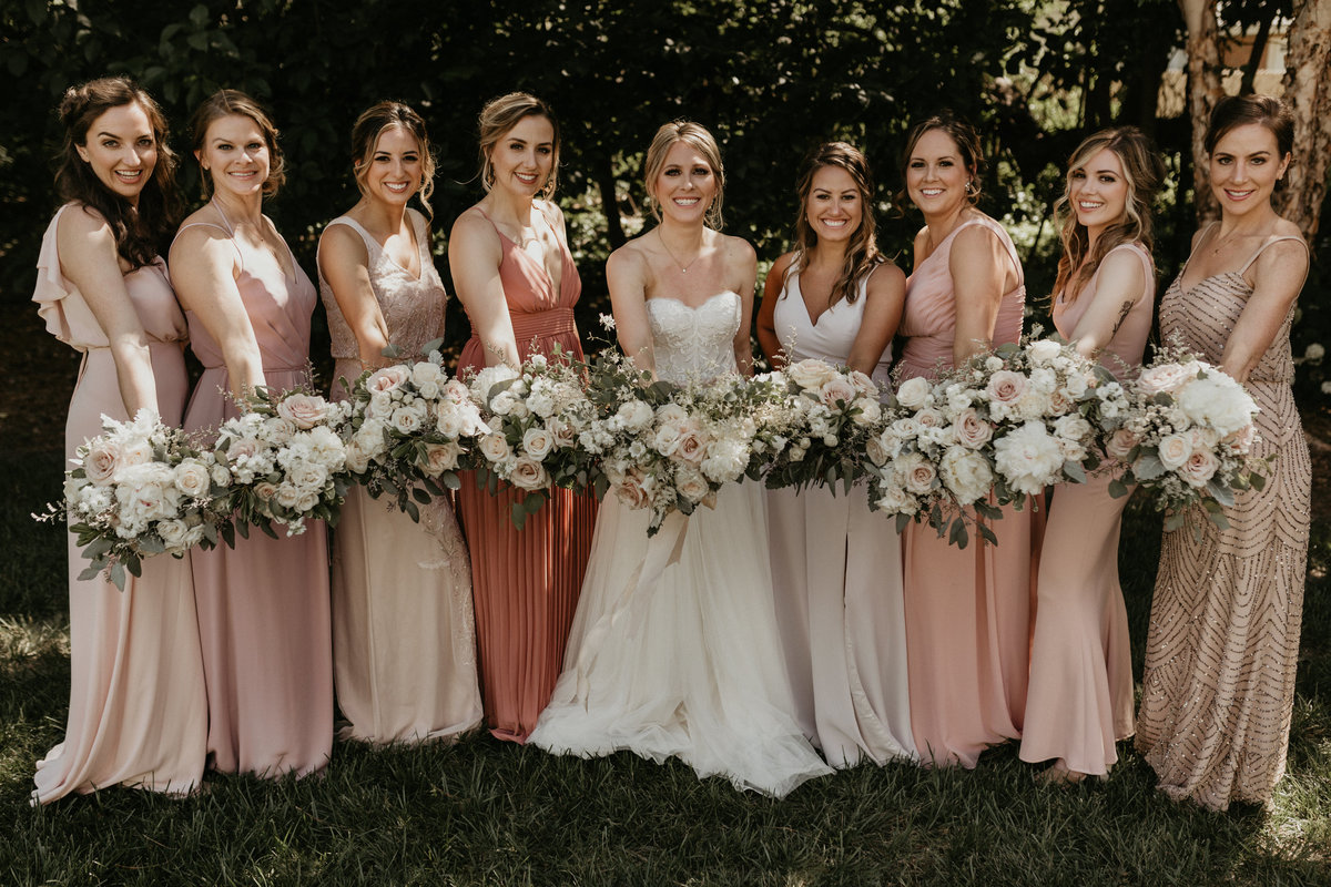 blush gowns bridesmaids