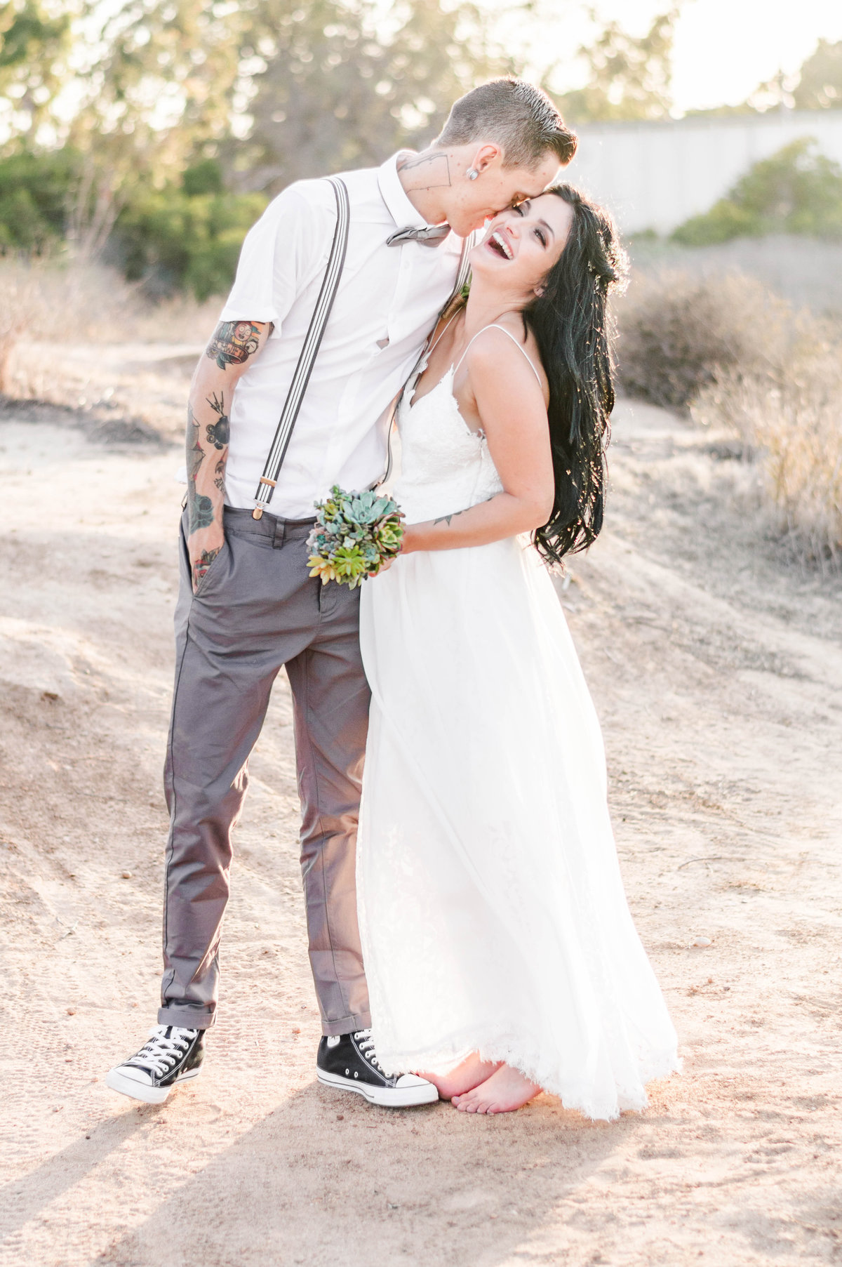 Boho wedding with succulent bouquet Orange County wedding photographer
