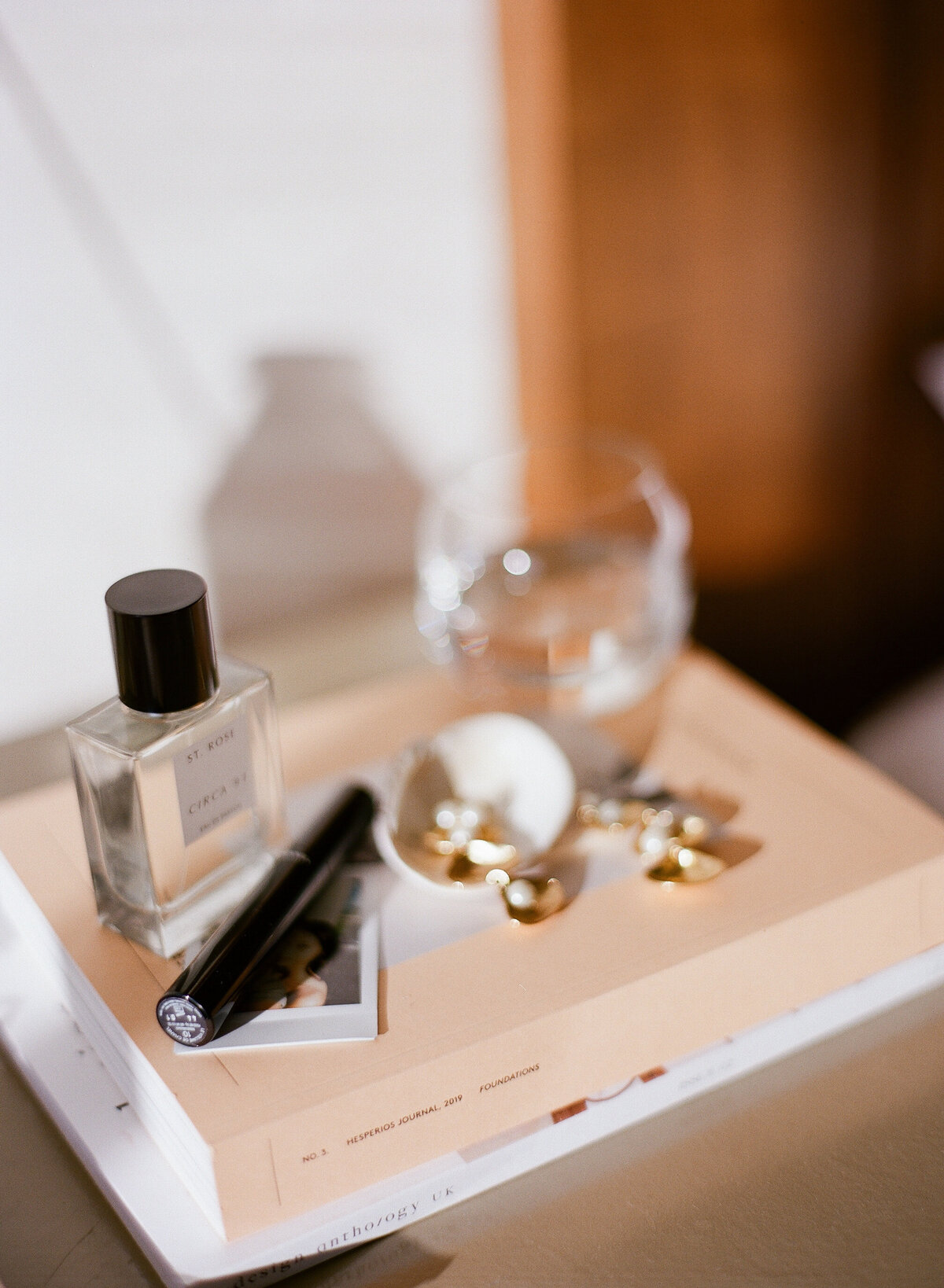 accessories set on a bedside table