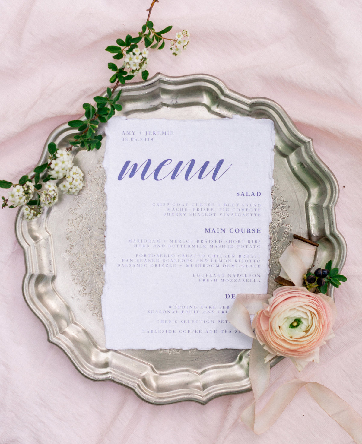 Wintherthur wedding spring wedding menu