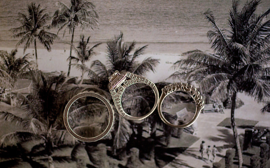 rings on vintage postcard