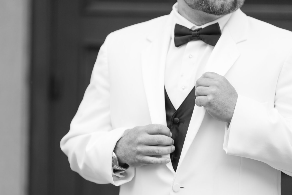 seattle wedding photographer white tux groom portrait