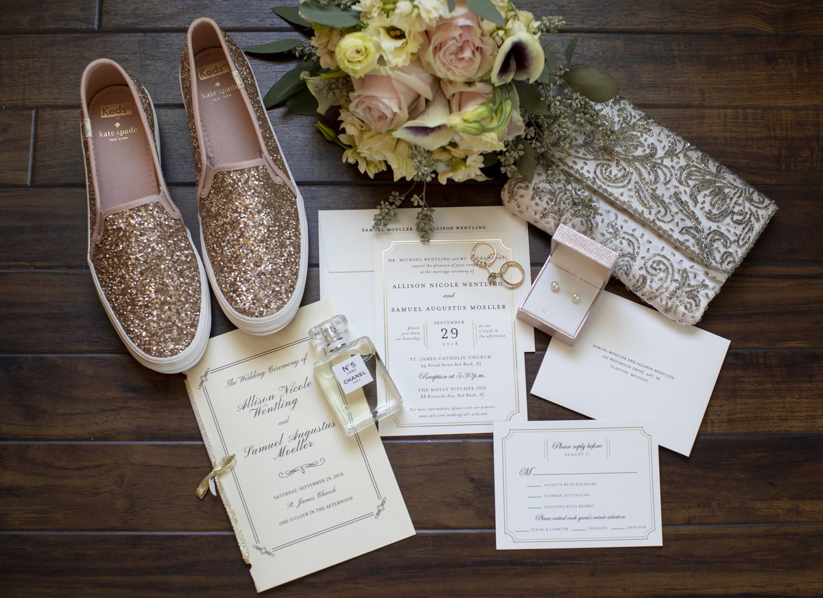 classic flat lay details for molly pitcher inn wedding