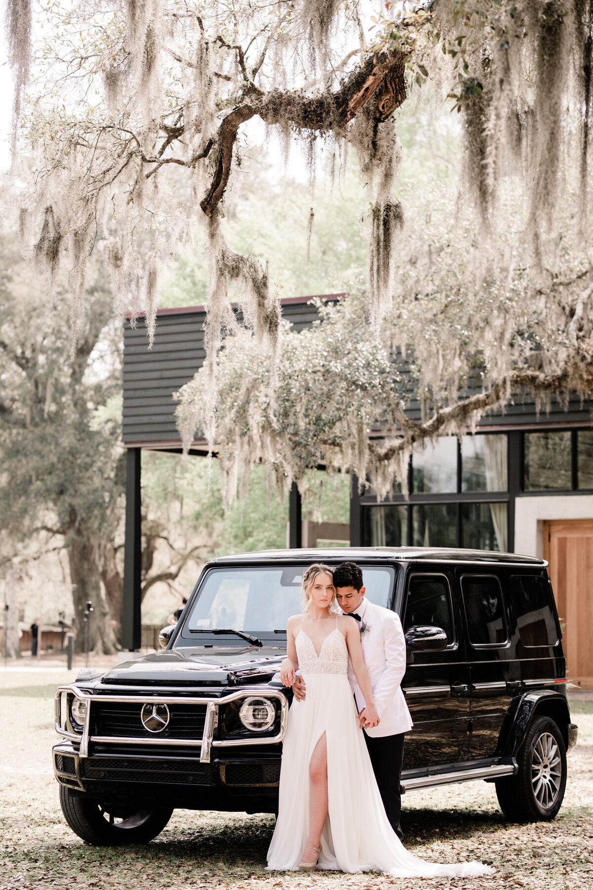 Bride and Groom with Mercedes-Benz G-Class, luxury wedding