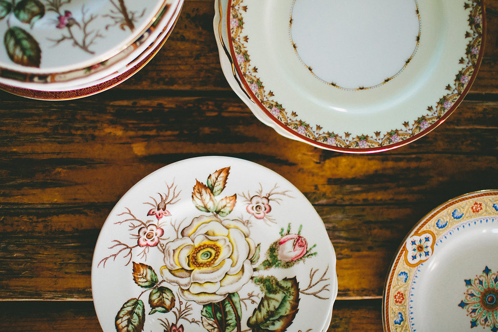 vintage dinner plates for a dinner party in Los Angeles