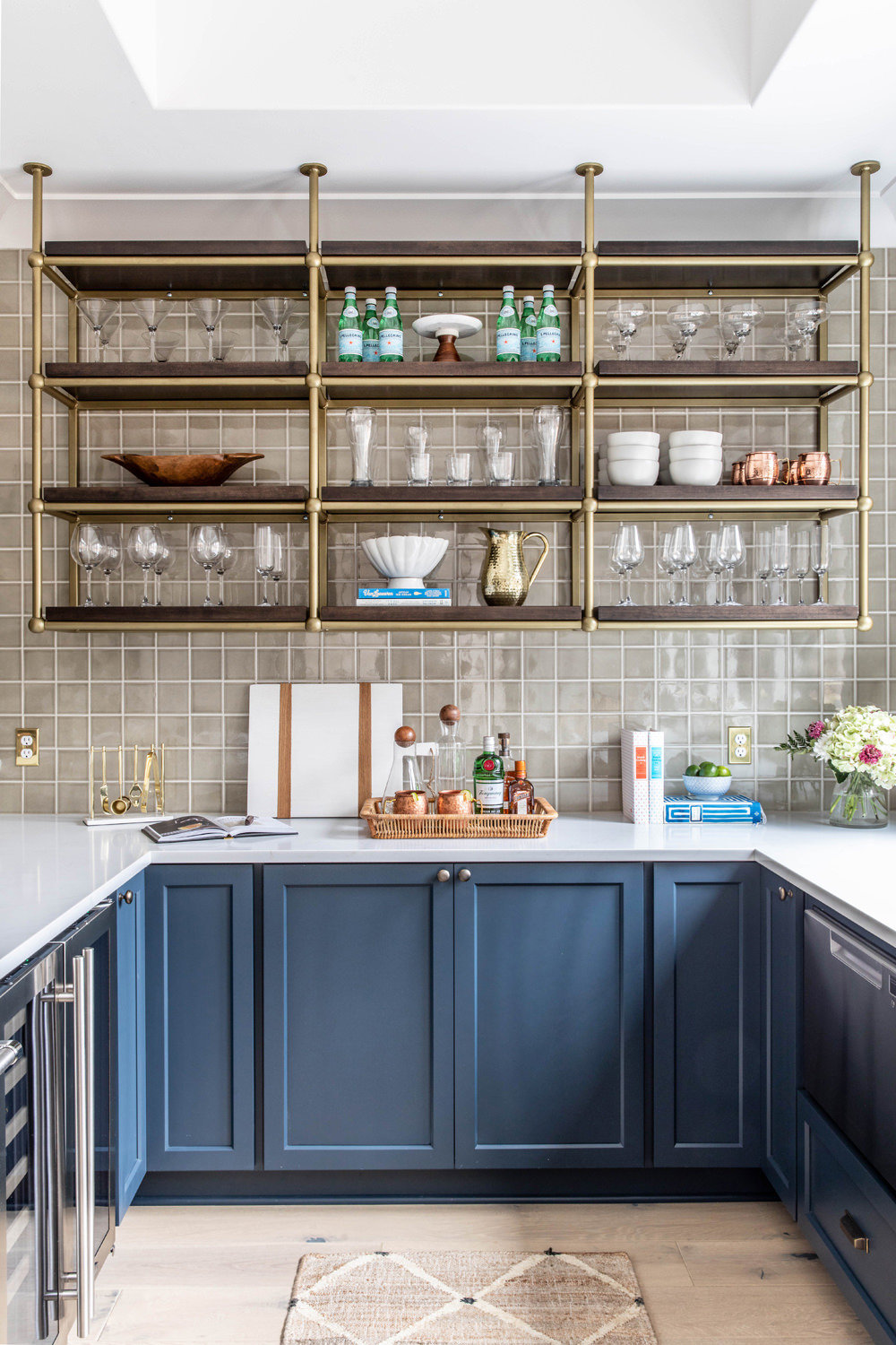 Benjamin-Moore-Blue-Note-Basement-Bar-with-Brass-French-Bistro-Shelving-1