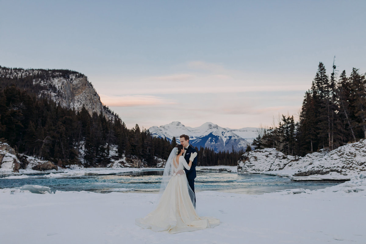 bow falls banff winter wedding photographer