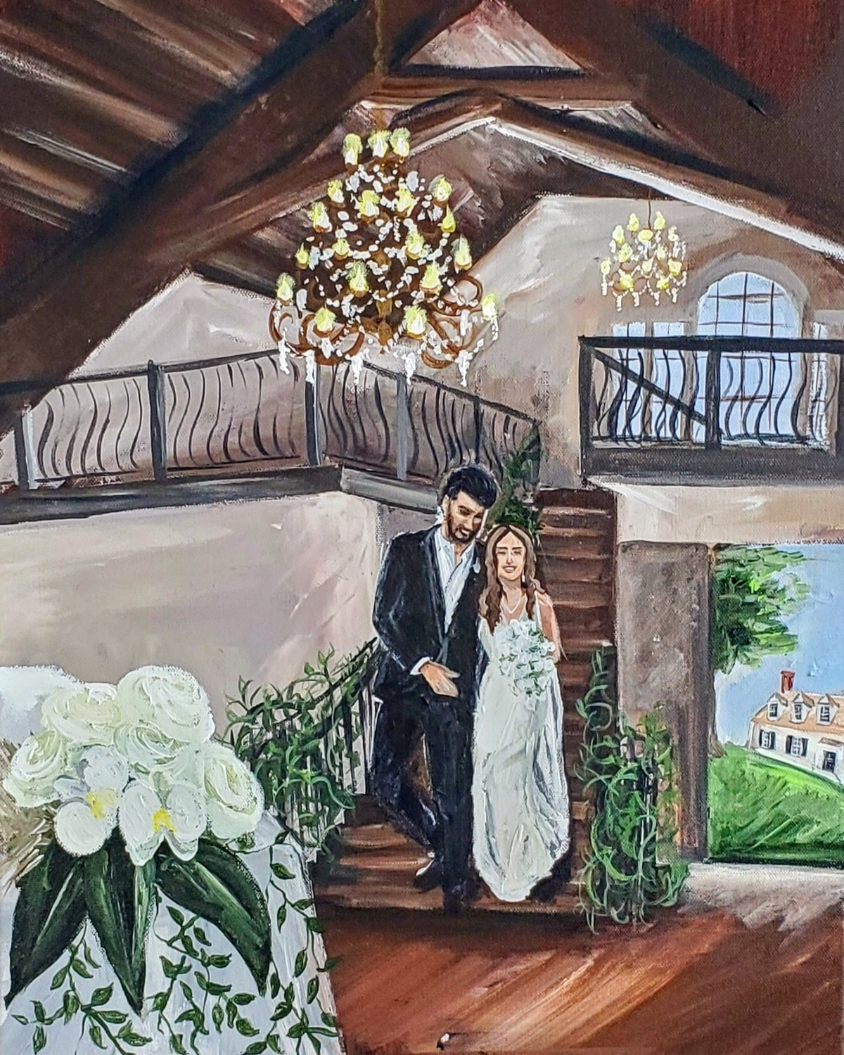 Live painting of a bride and groom entering their ballroom at Burlington Plantation in Charles City Virginia