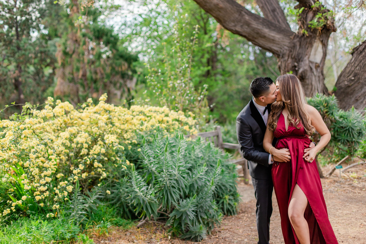 UC Riverside Botanical Gardens, Engagement Photography, Riverside Phototgrapher, Garden Engagement, Couple Photography, Red Dress-44