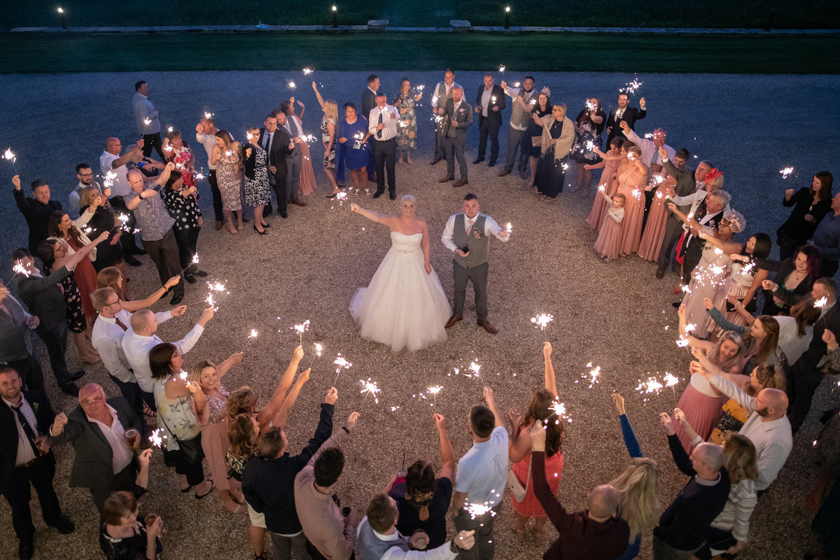 Sparklers at Rockbeare Manor wedding in Devon