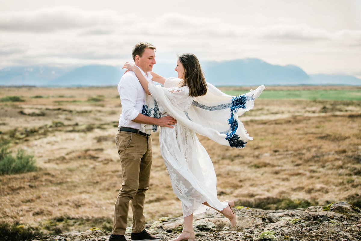 windy portraits during iceland elopement aimee flynn photo