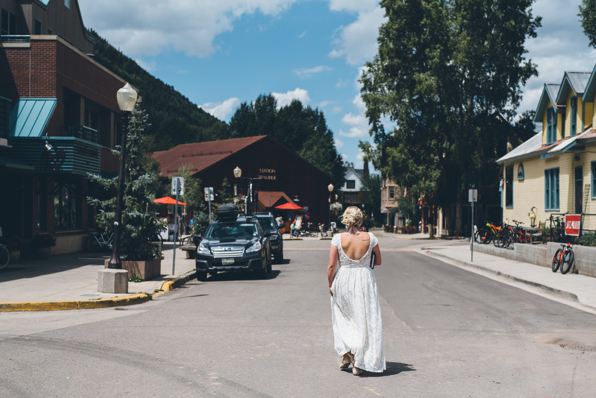Bride on her way to her Telluride, Colorado wedding