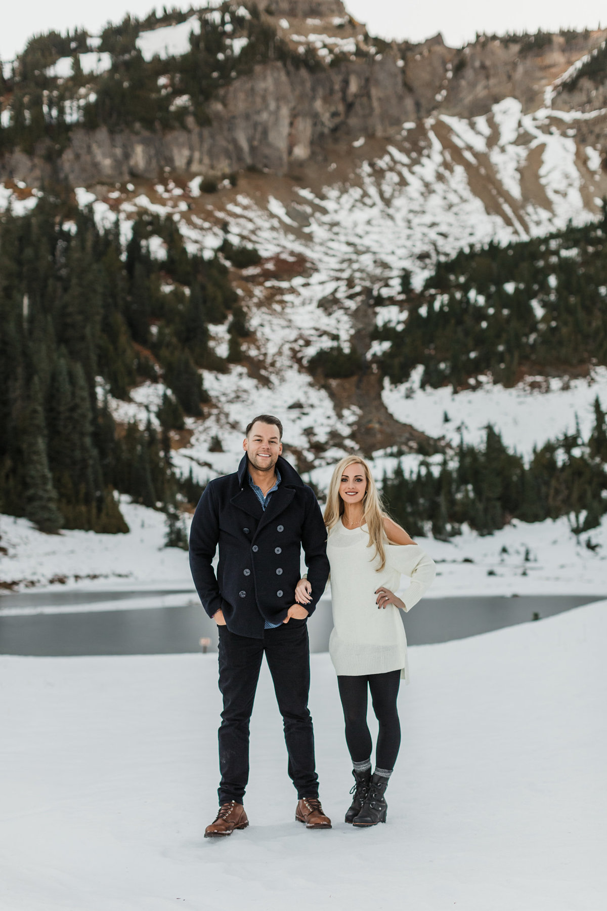Snowy Mount Rainier Engagement Photos-21