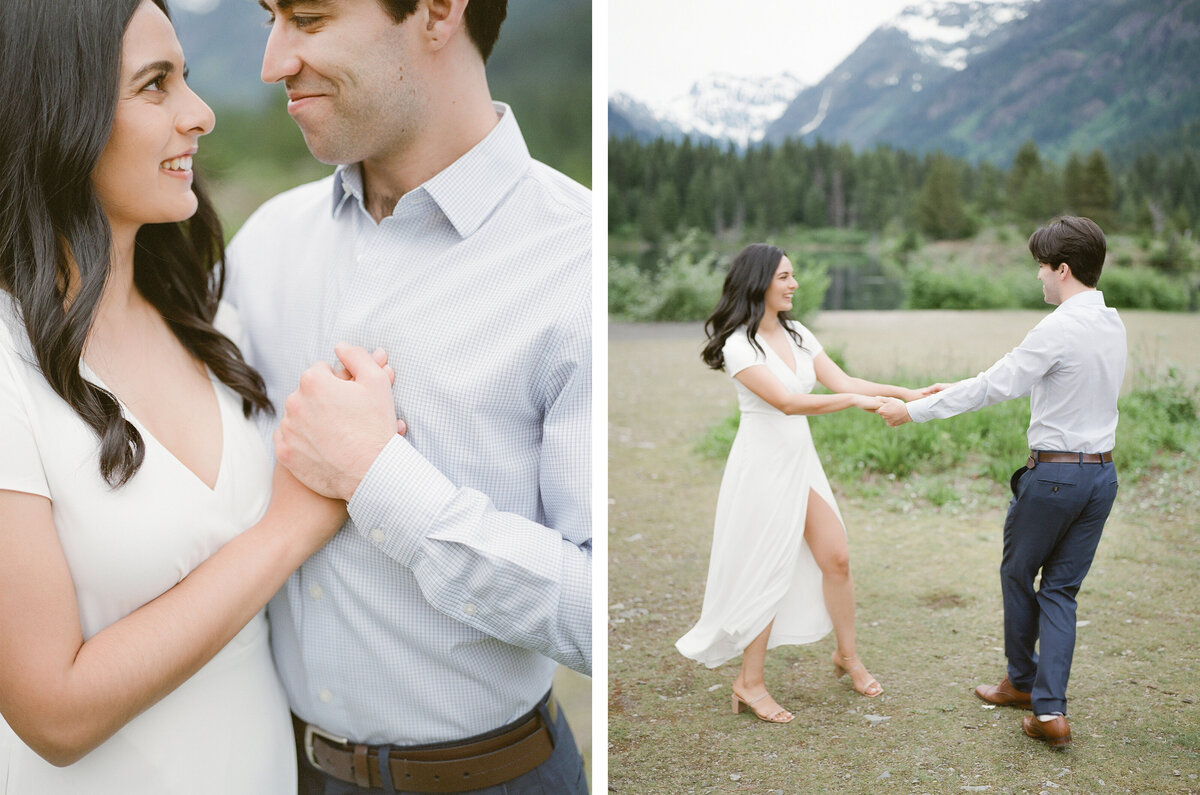 Fine Art Engagement Photography in Seattle - Mountain View Engagement - Gold Creek Pond - Film -3