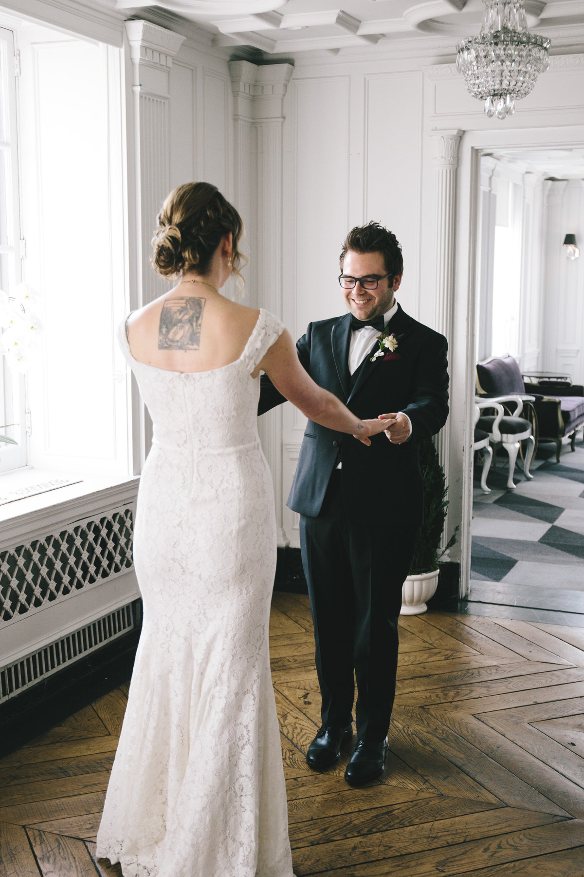 Bride-Groom-First-Look-Culver-Hotel