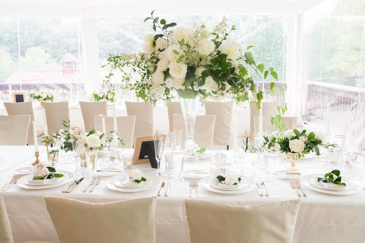 luxe bright white summer tent wedding
