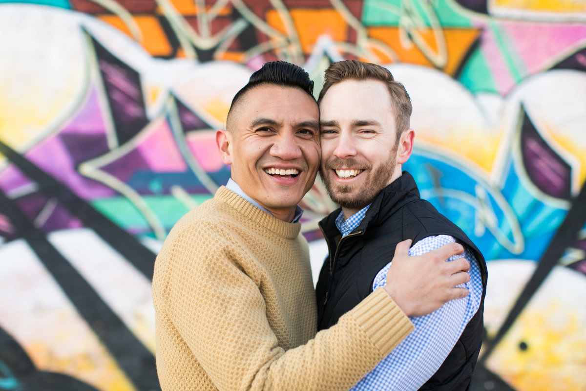 Baltimore gay engagement session graffiti alley