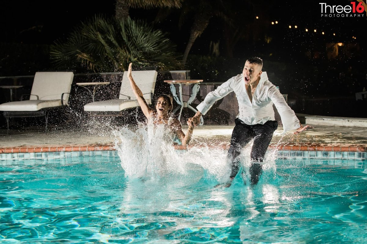 Newhall Mansion Piru California Los Angeles  Photographer Wedding Venue Bride and Groom Jumping in pool