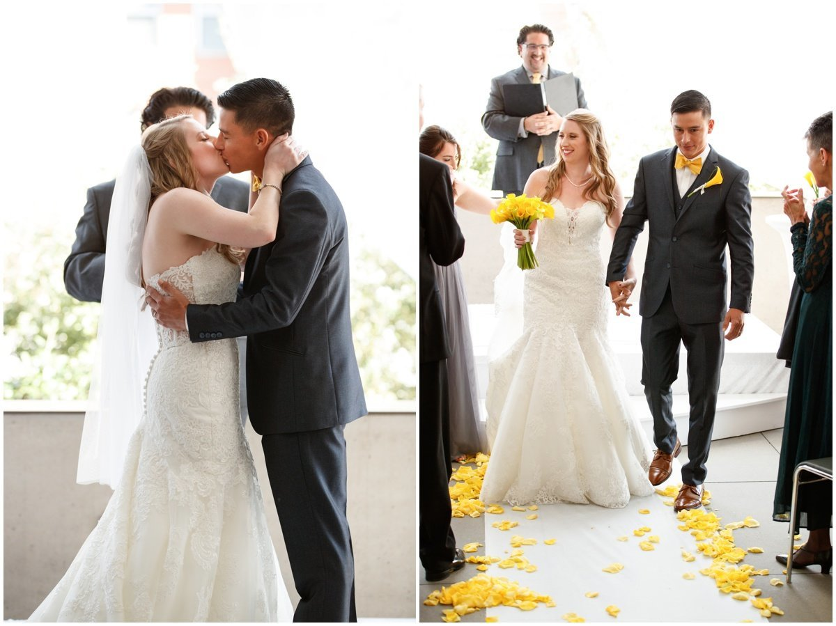 Austin wedding photographer w hotel wedding photographer bride groom kiss ceremony